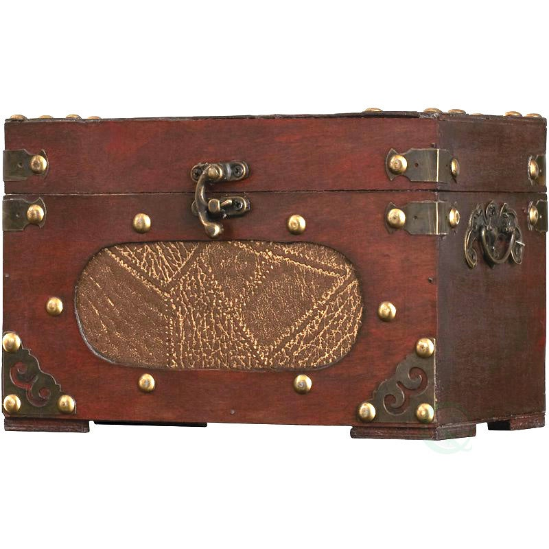 Vintiquewise Small Wooden Treasure Chest - cherry (Small ...