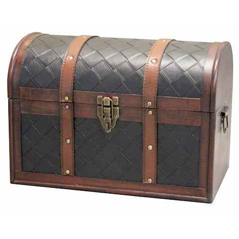 Wood and Leather Domed Treasure Chest - cherry
