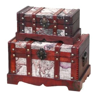 Decorative trunks for less overstock old world map wooden trunk set of 2 gumiabroncs Image collections