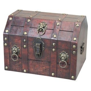 Link to Antique Wooden Pirate Chest with Lion Rings and Lockable Latch Similar Items in Jewelry Boxes
