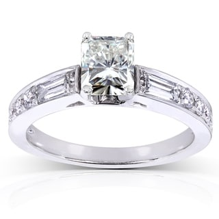 Annello by Kobelli 14k White Gold 1 3/4ct TGW Radiant Moissanite (HI) and Mixed-cut Diamonds Engagement Ring