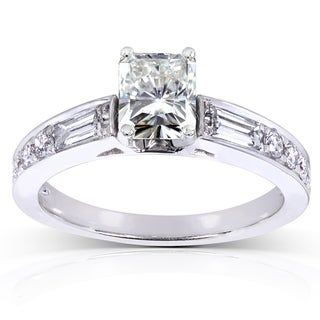 Annello by Kobelli 14k White Gold 1 3/4ct TGW Radiant Moissanite and Mixed-cut Diamonds Engagement Ring