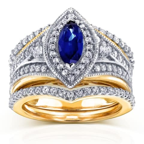 Annello by Kobelli 14k Two Tone Gold 1 1/3ct TGW Marquise Blue Sapphire and Diamond Art Deco 3-Piece Bridal Rings Set