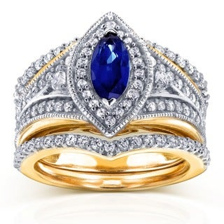 Annello by Kobelli 14k Two Tone Gold Marquise Blue Sapphire and 4/5ct TDW Diamond Art Deco 3-Piece C