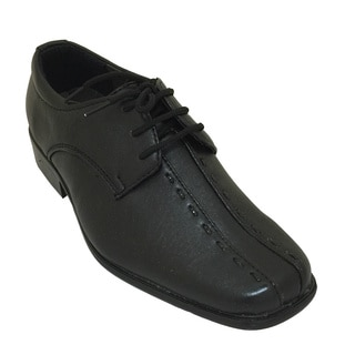 Boys' Black Center Stitching Lace-up Dress Shoes