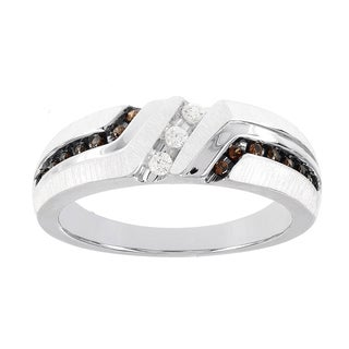 H Star 10k White Gold 1/4ct Brown and White Diamond Men's Band Ring (I-J, I2-I3)