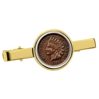 American Coin Treasures Indian Penny Goldtone Tie Clip
