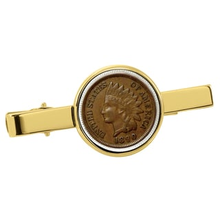 American Coin Treasures 1800's Indian Penny Goldtone Tie Clip