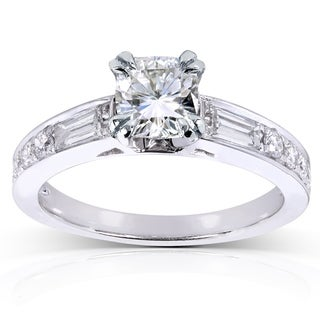 Annello by Kobelli 14k White Gold Forever Classic Cushion Moissanite and 1/2ct TDW Diamond Engagemen