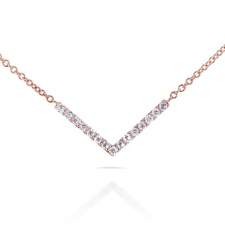Annello by Kobelli 14k Rose Gold 1/10ct TDW Diamond Chevron Breast Cancer Awareness Necklace