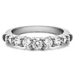 TwoBirch Sterling Silver Delicate Classic Curved Shadow Band mounted with Cubic Zirconia (0.33 Cts. twt)