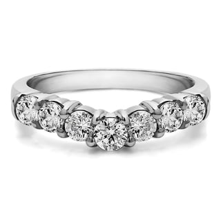 Sterling Silver Slightly Contoured Classic Style Wedding Ring mounted with Cubic Zirconia (0.5 Cts. twt)