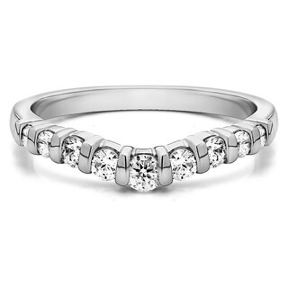 TwoBirch Sterling Silver Classic Style Contour Tracer Band mounted with Cubic Zirconia (0.75 Cts. twt)