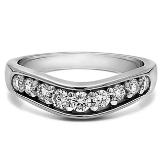 Sterling Silver Classic Contour Wedding Ring mounted with Cubic Zirconia (0.42 Cts. twt)