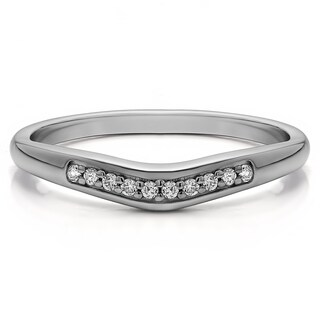 Sterling Silver Delicate Contour Wedding Band mounted with Cubic Zirconia (0.1 Cts. twt)