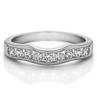 Sterling Silver Classic Contour Style Wedding Band mounted with Cubic Zirconia (0.5 Cts. twt)