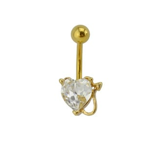 Supreme Jewelry Austrian Crystal Heart with Horns and Tail Belly Ring