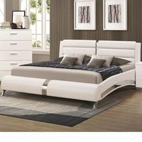 Modern Style Wave Design White Upholstered Bed - Free Shipping Today ...
