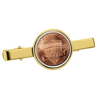 American Coin Treasures Lincoln Union Shield Penny Goldtone Tie Clip
