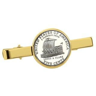 American Coin Treasures Westward Journey Keelboat Nickel Goldtone Tie Clip