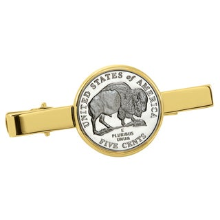 American Coin Treasures Westward Journey Bison Nickel Goldtone Tie Clip
