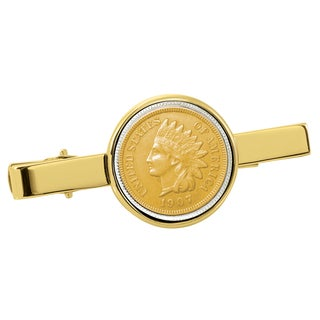 American Coin Treasures Gold-Plated Indian Penny Goldtone Tie Clip