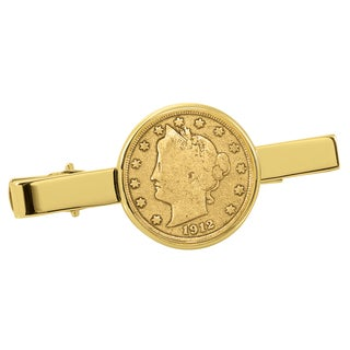 American Coin Treasures Gold-Plated Liberty Nickel Goldtone Tie Clip