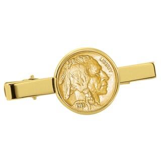 American Coin Treasures Gold-Plated Buffalo Nickel Goldtone Tie Clip