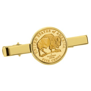 American Coin Treasures Gold-Plated Westward Journey Bison Nickel Goldtone Tie Clip