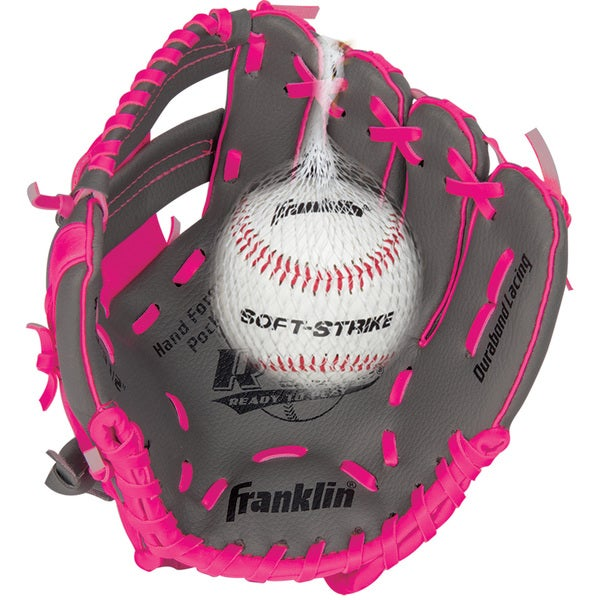 """Franklin Sports 9.5"""" RTP Teeball Performance Glove and Ball Combo Graphite/Pink-Right Handed Thrower"""