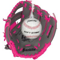"Franklin Sports 9.5"" RTP Teeball Performance Glove and Ball Combo Graphite/Pink-Right Handed Thrower"
