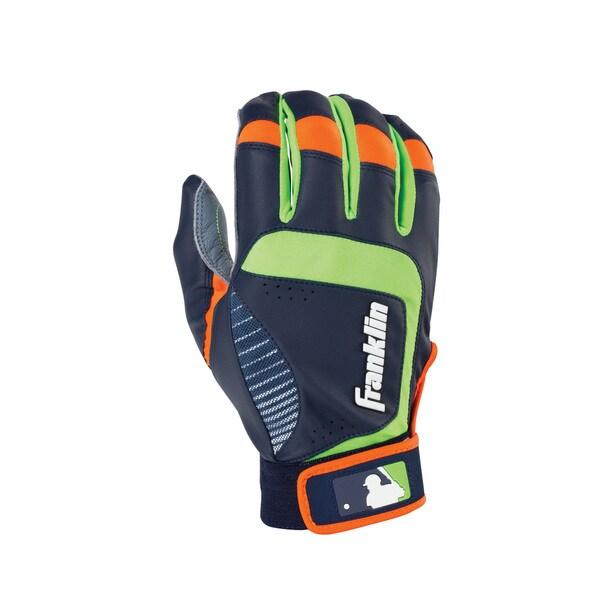 Franklin Sports Shok-Sorb Neo Batting Glove Gray/Navy/Lime Youth Small