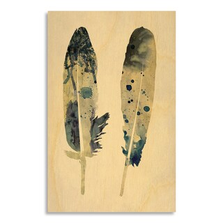Gallery Direct New Era Original 'Spotted Feathers II' Printed on Birchwood Wall Art