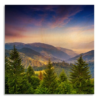 Gallery Direct 'Pine Trees Near Valley in Mountains and Summer Forest on Hills' Printed on Birchwood Wall Art