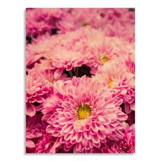 Gallery Direct Pink chrysanthemum flower in garden' Printed on Birchwood Wall Art