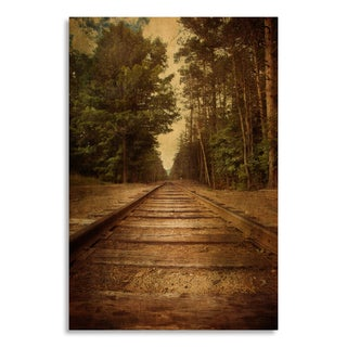Gallery Direct Old railroad tracks with vintage texture effect' Printed on Birchwood Wall Art