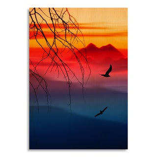 Gallery Direct Beautiful landscape with birds' Printed on Birchwood Wall Art