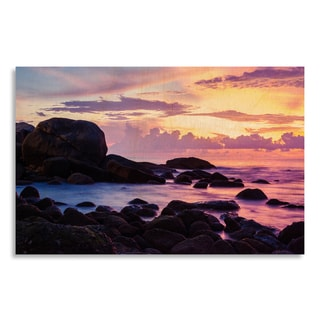 Gallery Direct Seascape with color of sunset' Printed on Birchwood Wall Art