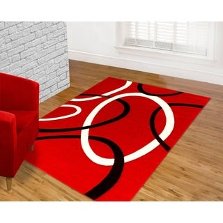 Contemporary Red Area Rug (5' x 7')