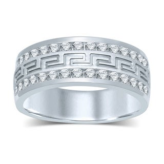 Unending Love 14k White Gold Men's 1ct TDW Diamond 2-row Wedding Band (H-I, I2-I3)