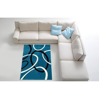Contemporary Blue Area Rug (8' x 11')