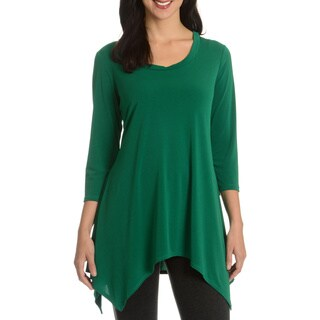 Sunny Leigh Women's Solid Long Tunic|https://ak1.ostkcdn.com/images/products/10613222/P17684254.jpg?_ostk_perf_=percv&impolicy=medium