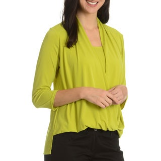 Sunny Leigh Women's Solid Open Draped Front Top