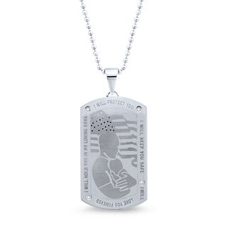 Unending Love Stainless Steel Diamond Accent 'Loving Arm' Dog Tag Pendant