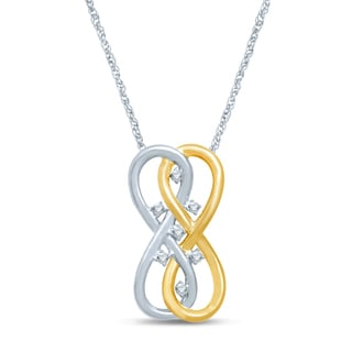 Unending Love Sterling Silver and 10k Yellow Gold 1/10ct TDW Diamond Double Infinity Fashion Pendant (I-J, I2-I3)