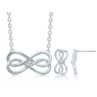 Unending Love Sterling Silver Diamond Accent Infinity Earrings and Necklace Set