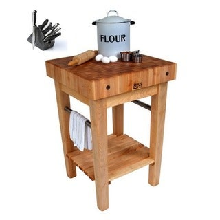 John Boos 36 x 24-inch Maple Pro Prep Block PPB3624-D Cart with Drawer, and J. A. Henckles 13-piece Knife Block Set
