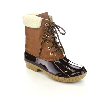 AXNY DYLAN-3 Women's Two Tone Lace Up Ankle Duck Boots One Size Small (More options available)