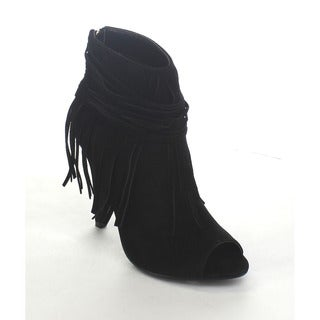 ADRIANA HILDA-23 Women's Peep Toe Fringe Accents Stiletto Ankle Booties