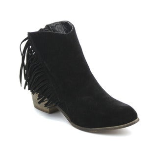 ADRIANA LEONARA Women's Low Heel Fringe Stacked Heels Ankle Booties